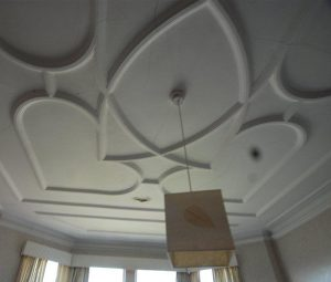 Water damaged lath plaster and panel ceiling